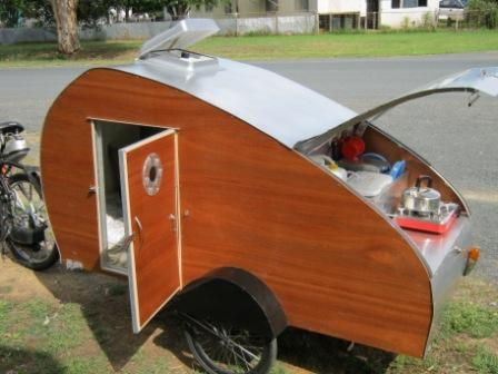 teardrop caravans | John designed this teardrop caravan to be towed behind a bicycle ...