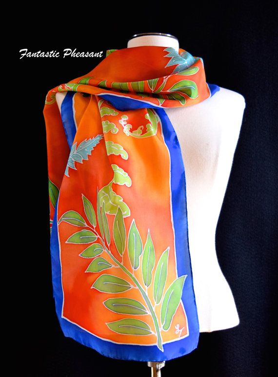 Silk scarf hand painted ferns in different by FantasticPheasant