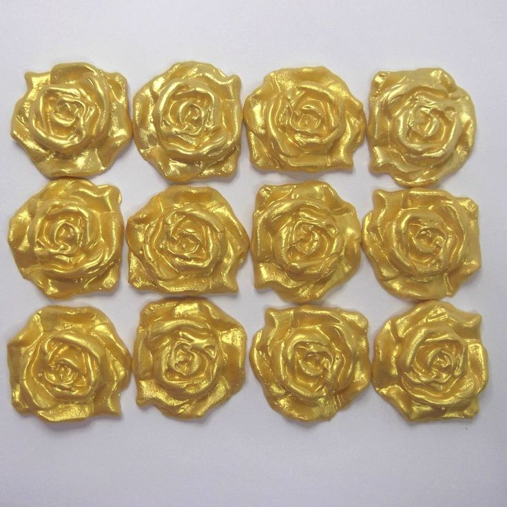 12 Large Gold Pearl Sugar Roses edible wedding christmas cake decoration 45x40mm