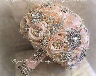 PINK BROOCH BOUQUET, Custom Pink and Silver Wedding Bouquet, Silver Brooch Bouquet, Custom Brooch Bouquet, Broach Bouquet, Pink-Deposit Only