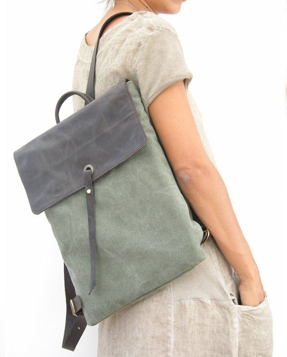 INSPIRATION ONLY -NO Pattern;  Leather and Canvas Laptop Backpack  Canvas by RuthKraus on Etsy
