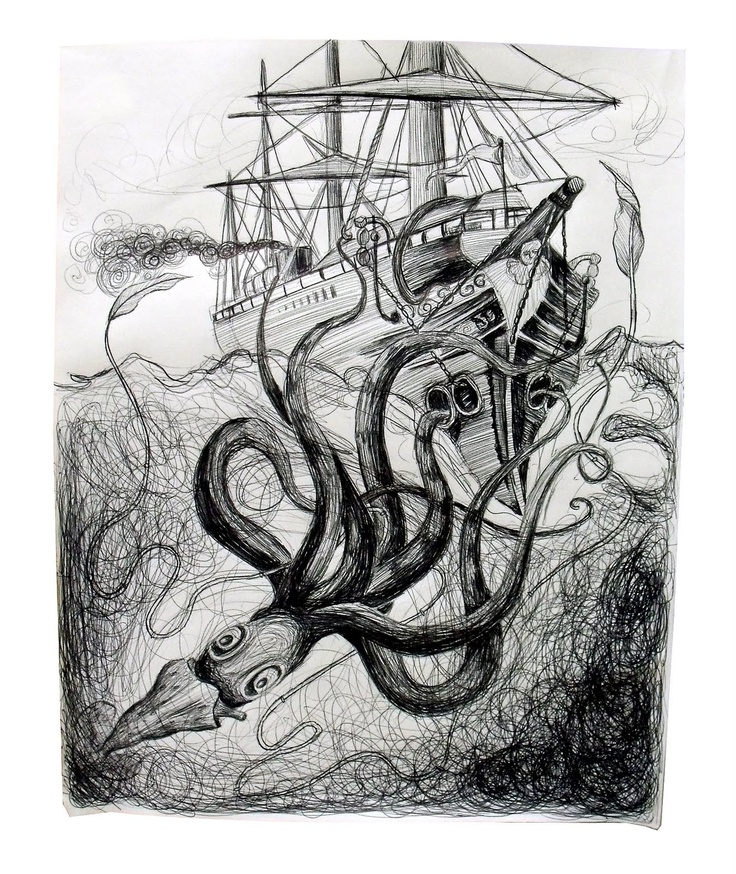 Octopus Shipwreck Drawing 86 best images ...