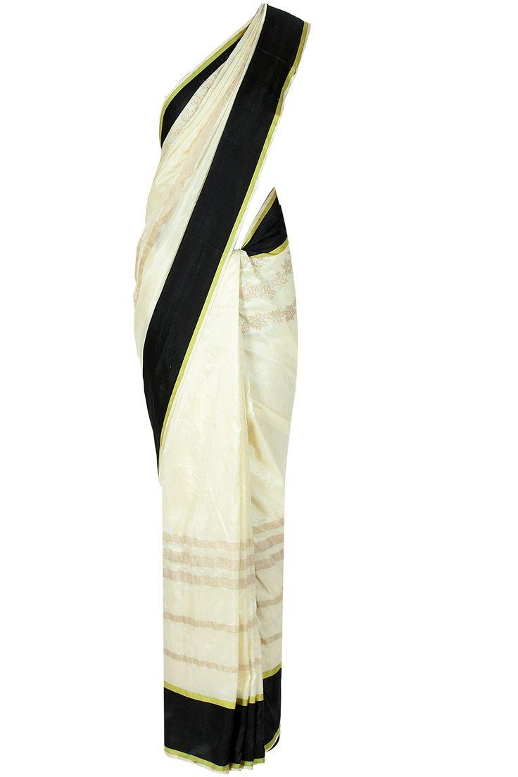Off White. Black. Neon Yellow. Gold. #indianoutfit #sari