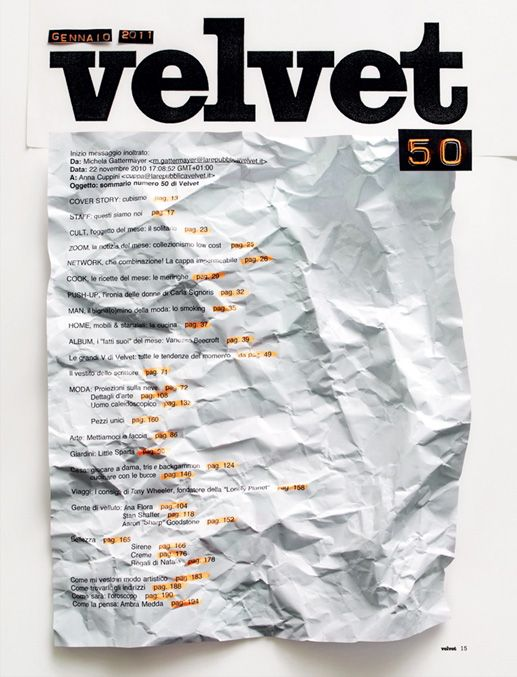 Table of Content for a Velvet Issue