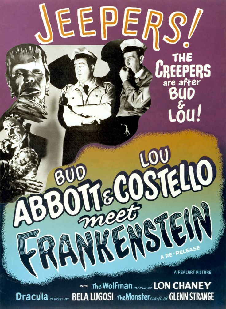 """A comic horror film in which Abbott and Costello encounter Frankenstein's monster, Dracula, and a mad scientist."" Find ABBOTT & COSTELLO MEET FRANKENSTEIN in our catalog: http://highlandpark.bibliocommons.com/item/show/643081035_bud_abbott_amp_lou_costello_meet_frankenstein"