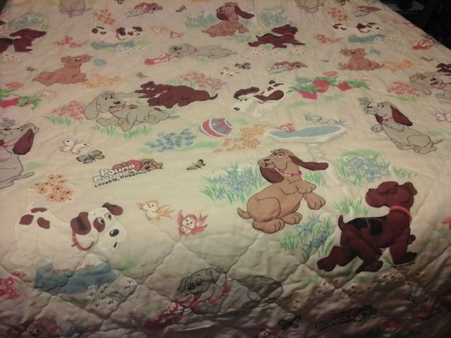 Vintage 1980s Pound Puppies twin quilted bedspread with Pound Puppy stuffed dog