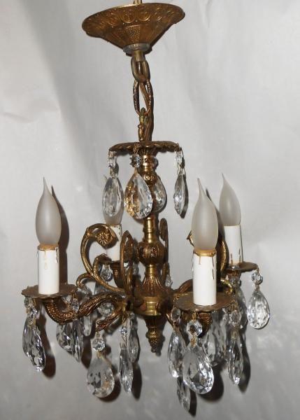 Antique petite ornate brass chandelier crystal prisms 4 arm light vtg spain  nr | Hanging lights - Antique Petite Ornate Brass Chandelier Crystal Prisms 4 Arm Light