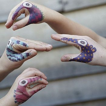 Temporary animal or monster tattoos for talking hands!  Great alterntative to face painting. (I'm thinking a neat end of the year activity to do)