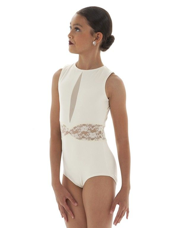 Pretty dance leotard with lace blocking at the waist and a mesh inset lined with beige for modesty. Chose your colors and customize it your way at The Line Up!