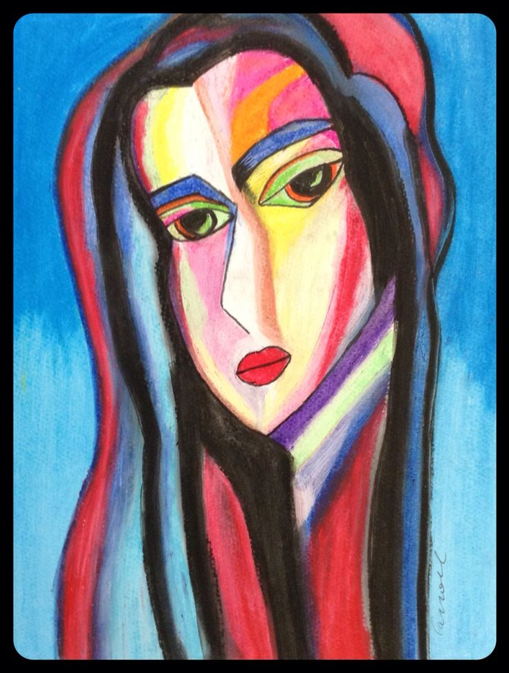 Madonna, oil pastel painting, drawing, semi abstract, cubism