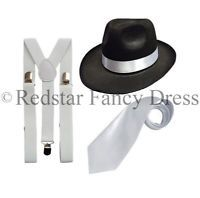 GANGSTER TRILBY HAT BRACES TIE 1920'S GATSBY BUGSY MALONE AL CAPONE - ADULT SIZE