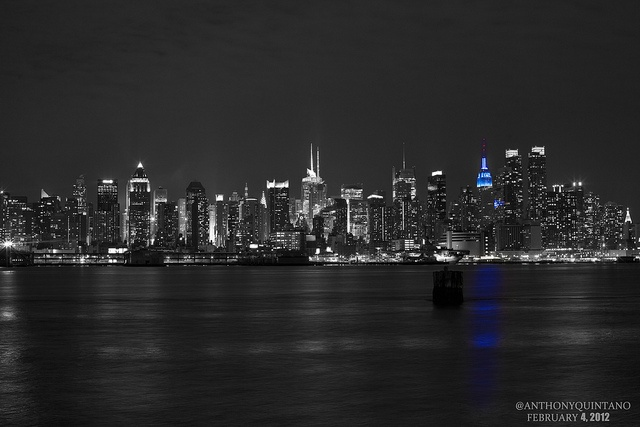 Empire State Building lit in blue for the New York Giants for Super Bowl 46