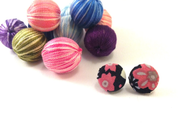 Blue fabric covered button earrings with by Mariabuttons on Etsy