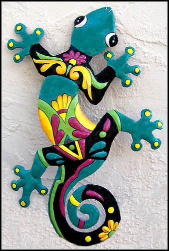 Gecko Metal Art Wall Hanging, Outdoor Decor,Painted Metal Gecko, Outdoor Garden Art, Tropical Decor, Outdoor Metal Wall Art, M402-TQ