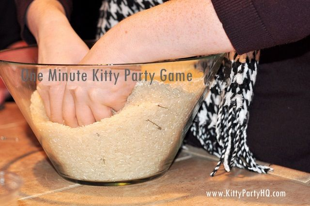 One Minute Kitty party game ideas-Rice and safety pin game !
