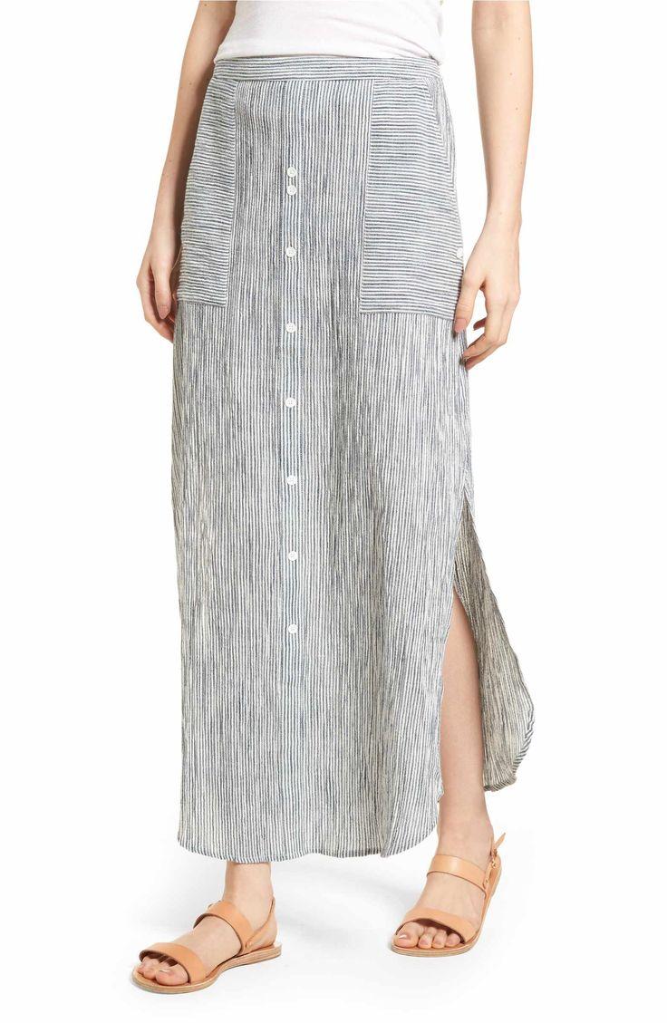 Main Image - Roxy Sunset Islands Pinstripe Maxi Skirt