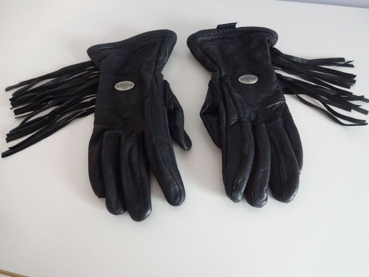 HARLEY DAVIDSON Fringed Black Leather Motorcycle Riding GLOVES - Womens Small S #HarleyDavidson #RidingGloves
