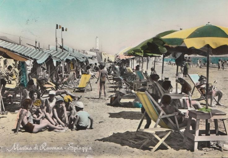 Cartolina viaggiata Marina di Ravenna Spiaggia  1956  C170