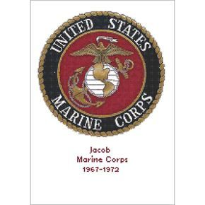 "U.S. Marine Corps Emblem Counted Cross Stitch Kit-12""x9.5"" 14 Count"