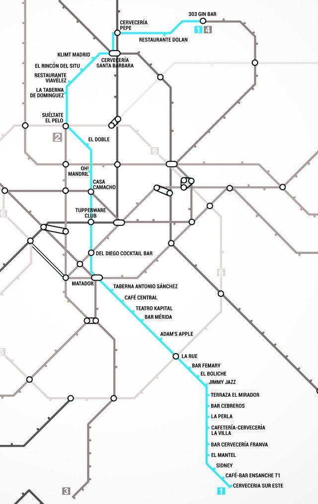 Madrid's First Metro Bar Map