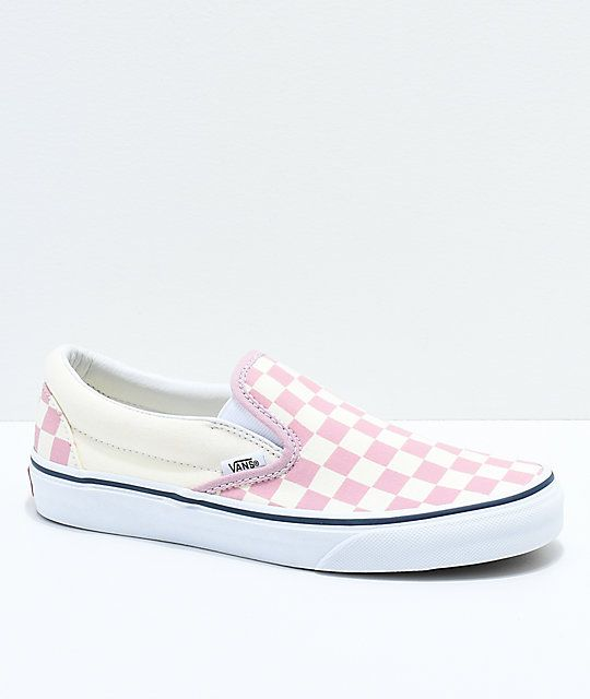 5d27041c874 Vans Slip-On Zephyr Pink   White Checkered Skate Shoes in 2019 ...