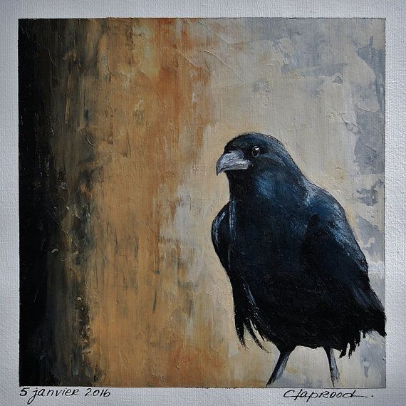 Small black bird painting, picture black crow raven home decor black ochre beige wall art, acrylic painting on canvas 6x6 inches + a mat