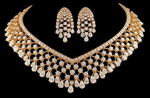 Van Cleef & Arpels 18kt. Gold Demi Parure 'Malines' Diamond Necklace & Earrings. Circa 1985