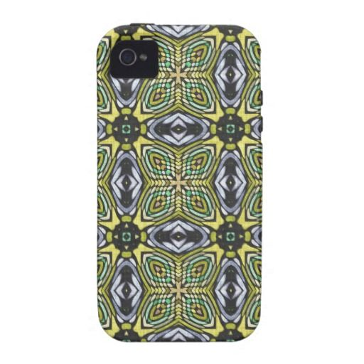 24 Blue Yellow Tribal Flower Tattoo Damask Pattern IPhone 4/4S Covers