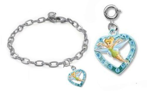 "CHARM IT! Disney Tinkerbell Heart Charm & Charm Bracelet Set CHARM IT! Gift Sets. $16.85. © Disney. Ideal for girls age 4-14. See our store for more charms to add to your girl's bracelet. Tinker Bell heart charm is approximately 1"". 7.5"" fully adjustable bracelet with lobster claw"