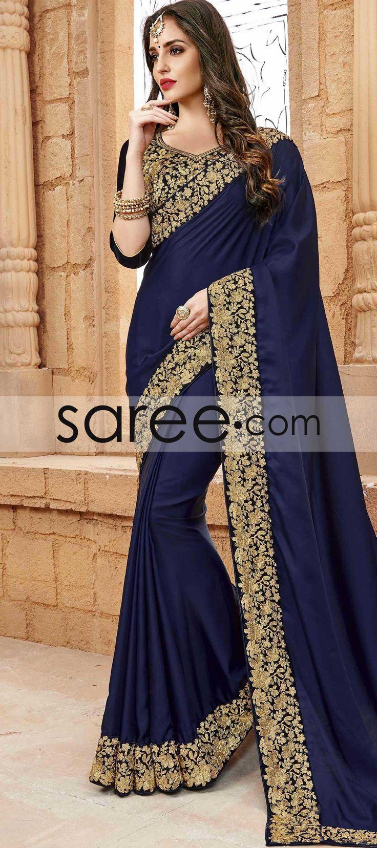 BLUE CREPE SILK SAREE WITH LACE WORK  #Saree #ChiffonSarees  #GeorgetteSarees #IndianSaree #Sarees  #SilkSarees #PartywearSarees #WeddingSarees #BuyOnline #OnlieSarees #NetSarees #DesignerSarees #SareeFashion