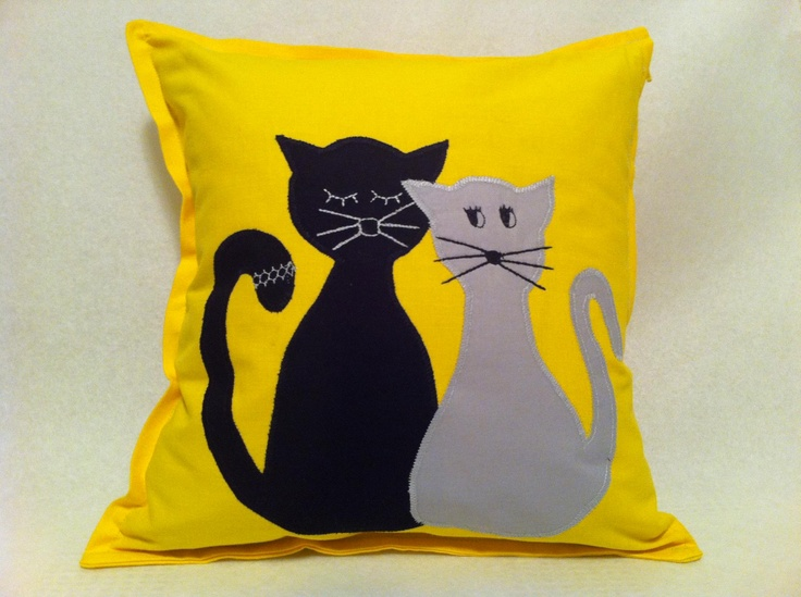 Happy Pillow- InLove Cats- handmade pillow  35x35 cm  Order at: happy_pillows@yahoo.com