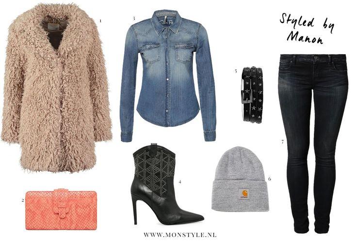 Styled by Manon #91: fluffy coat, Supertrash coat, Warehouse clutch, LTB blouse, Mango boots, Maison Scotch belt, Carhartt beanie, LTB jeans