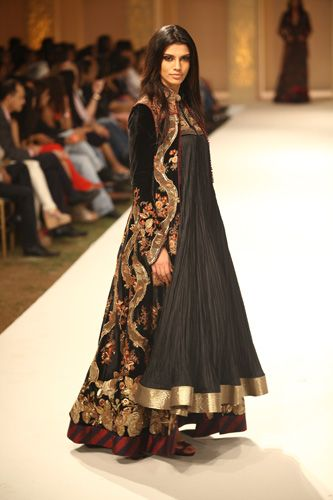 Black and Golden Anarkali with Long Embroidered Over Coat