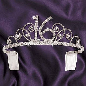 This Sassy 16 Tiara makes the perfect accessory for the guest of honor to wear at her Sweet 16 Party with the rhinestones in the shape of a 16 in the center.