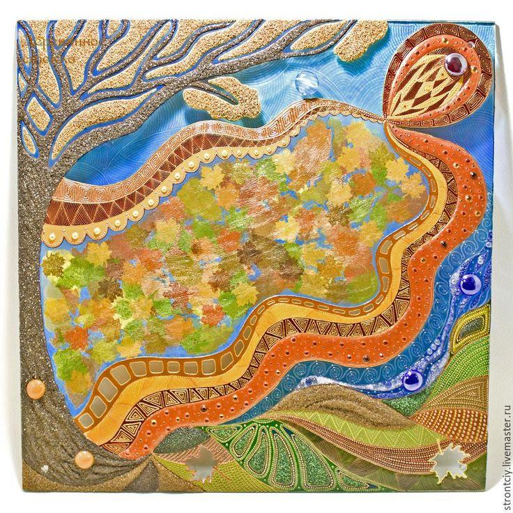 Витражная картина на стекле «Пять стихий осени» - Ярмарка Мастеров - ручная работа, handmade