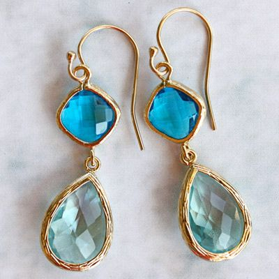 Something Blue1 La Mer Cozumel and Aqua Gold Earrings @Sarah Nasafi Grayce #laylagrayce #weddings