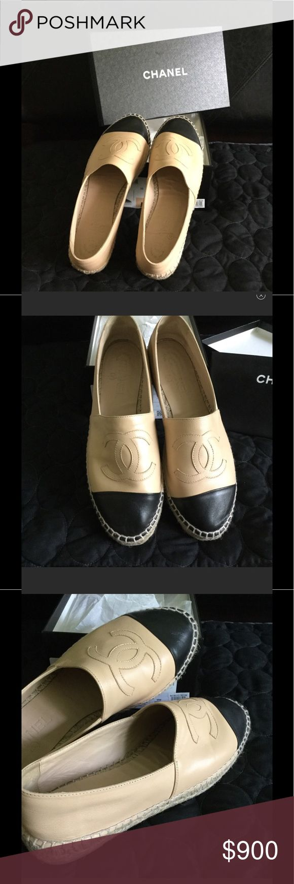 💯% AUTHENTIC CHANEL ESPADRILLES BEIGE/BLACK SOLD OUT in Boutiques▪️Lambskin Beige/Black Chanel Espadrilles ▪️ Size 39 ▪️ worn once mostly indoor▪️Know your size. Runs Small. I wear a size 8 and it fits me▪️◾Comes with box and dust bag◾Firm on price ▪️🚫NO TRADES🚫 ▪️SERIOUS BUYER ONLY▪️ITEM IS FROM A SMOKE FREE AND PET FREE HOME CHANEL Shoes