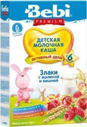 БЕБИ Премиум Злаки малина вишня молочная каша с 6 мес 200г  — 147р.  Молочная каша из злаков с малиной и вишней   Входящие в состав каши злаки, малина и вишня вместе образуют питательный и вкусный продукт, который так нравится малышам. Рис отличается полноценным аминокислотным составом белков, а пшеница богата витаминами А, В, С, D, Е, укрепляющими защитные силы организма. В плодах вишни и малины много ценных минеральных веществ. Эти ягоды способствуют выведению солей, обладают легким…