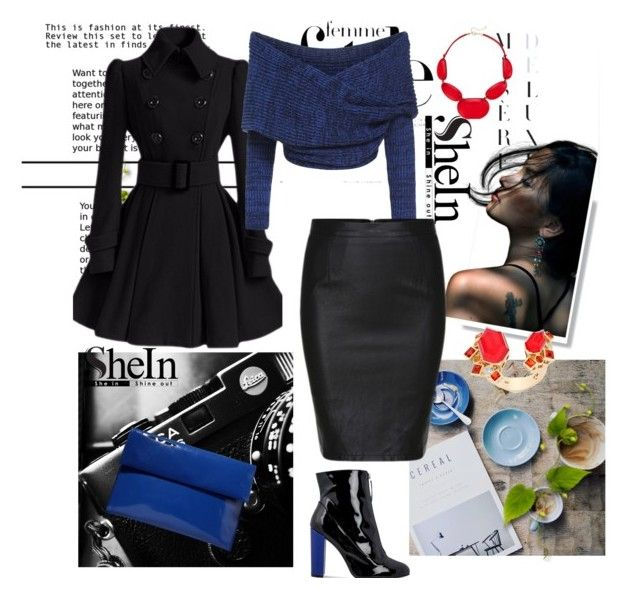 """Black Split Slim PU Skirt"" by autumn-soul ❤ liked on Polyvore featuring Marni, Carvela, Style & Co. and Stephen Webster"