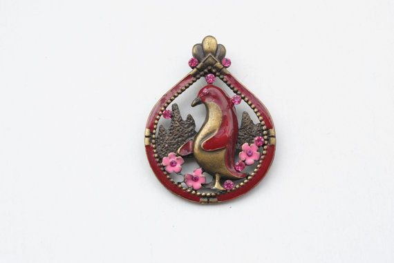 Antiqued brass and enamel penguin pendant bird by SoulSisters16