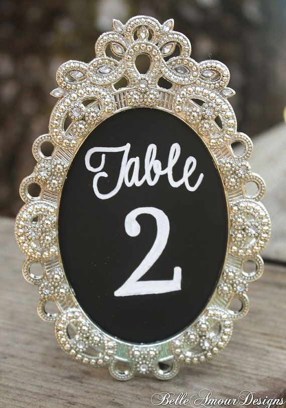 Chalkboard Table Numbers in Silver Vintage Style Frames - set of 10 by Belle Amour Designs