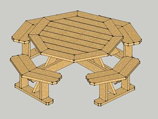 Really nice looking octagon table you can make yourself for Octagon picnic table blueprints