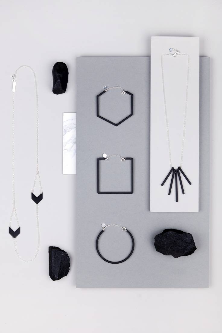 Charcoal Necklace 'Solar'.  Charcoal Necklace 'Sphere' Lines. Charcoal Bracelet 'Zodiac' Hexagon.  Charcoal Bracelet 'Zodiac' Square.  Charcoal Bracelet 'Zodiac' Round.  The Charcoal Collection. www.theboyscouts.com
