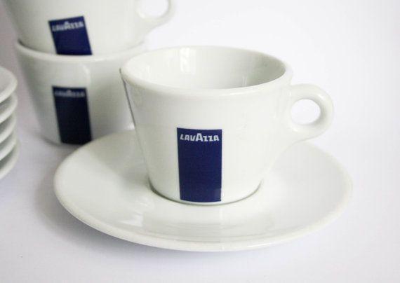 Set di 6 tazze di caffè Lavazza Vintage e piattini di DoubleRandC