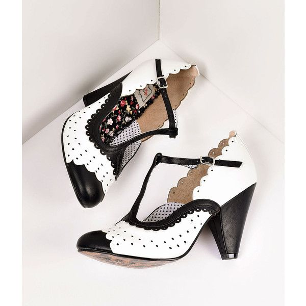 Bettie Page White & Black Leatherette Spectator Paige T-Strap Heels... ($83) ❤ liked on Polyvore featuring shoes, pumps, t-strap shoes, black and white pumps, vintage style shoes, white and black pumps and strappy high heel shoes
