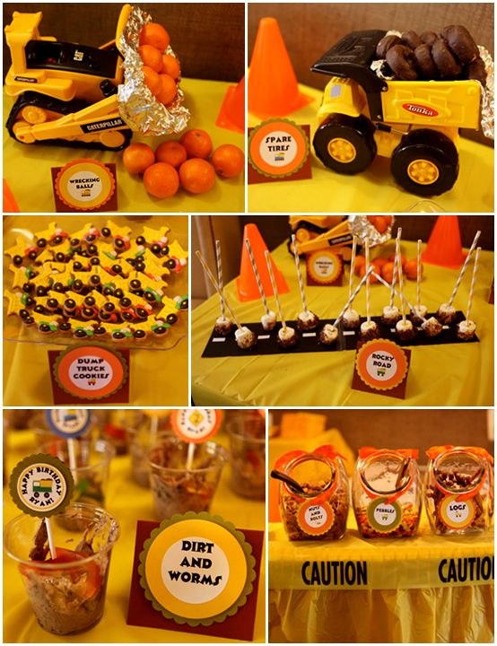 AWESOME boy party idea. Construction Truck Themed Birthday Party