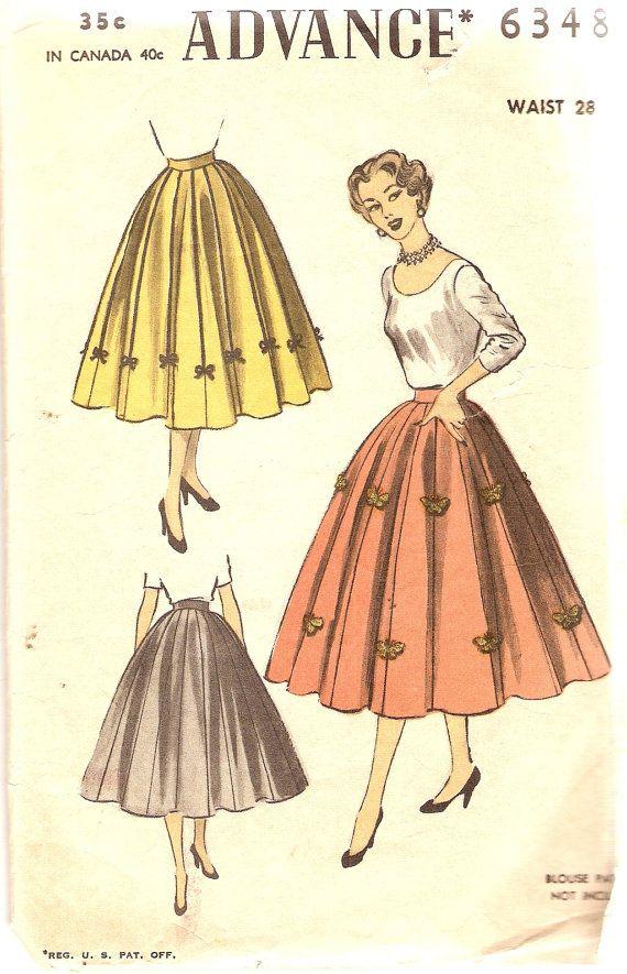 1950s Misses 8 Gored Skirt Pattern Waist 28 by CherryCorners, $14.00