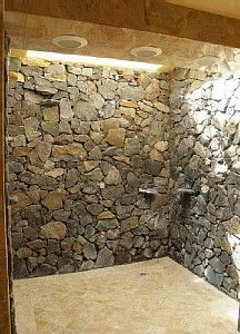 Spacious showering with #Natural #Stone #Clad #Rural walls, if it had built in seats it would be perfect, but i love the cave look, and the triple overhead recessed showers, possibly from #Zazzeri #Keuco #Manchester #Blackburn #Wetroom #Shower #Showering #Darwen #Hoddlesden #Rossedale #Haslingden #Hyndburn