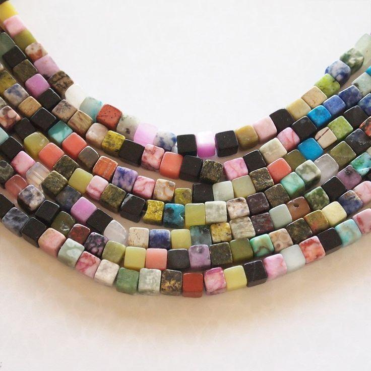 Strand Gemstone Cube Beads Mixed Stones Multi Colour Size 6mm