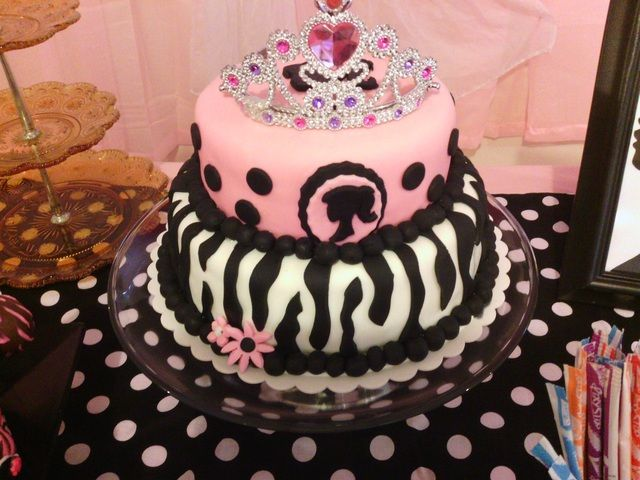 Zebra cake at at Barbie Party #barbieparty #cake